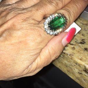 Badgley Mischka Princess Di Emerald Pave Ring